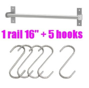 Ikea Grundtal 40.6cm Rail + 5 Hooks Stainless Steel Untensil Hanger Pot Pan Holder Kitchen Storage Organiser Set
