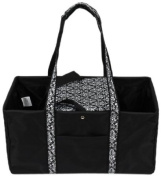 Sachi 194-146 Fashion Utility Lunch Tote with Insulated Cooler, Black with Black and White Damask