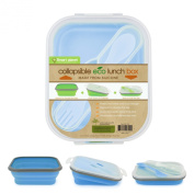 Smart Planet EC-34 Small 3-Compartment Eco Silicone Collapsible Lunch Box, Blue