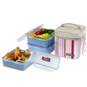 Lock and Lock, Square Lunch Box 3pc Set Pink. Kitchen & Housewares / Novelty Appliances)