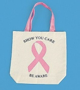 12 Breast Cancer Awareness Natural Canvas Tote Bags
