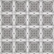 Magic Cover Black White Mosaic Tile Pattern Non Adhesive Grip Shelf Drawer Liners, Set of 2 Rolls