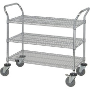 Quantum Storage Systems WRC-1848-3 3-Tier Wire Utility Cart with 3 Wire Shelves, Chrome Finish, 45.7cm Width x 121.9cm Length x 37-1.3cm Height