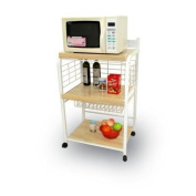 Small White Metal & Wood Portable Microwave Cart