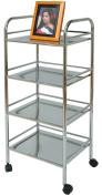 4 Tiers Chrome Storage Trolley. 15-2.2cm W X 12-1.3cm D X 38-0.3cm H