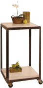 HomArt Cast Iron Square Cart with Wheels, Natural