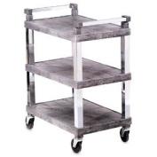 Open 3-Shelf Utility Cart w/ Chrome Uprights, Grey, 30-1/2x18-1/2x36
