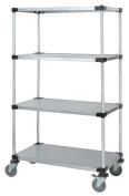 Quantum Storage Systems M2460SG46 4-Tier Wire Shelving Mobile Cart with 12.7cm Stem Casters, 4 Solid Shelves, Chrome Finish, 61cm Width x 152.4cm Length x 175.3cm Height