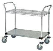 Quantum Storage Systems WRC-2436-2CG 2-Tier Wire Utility Cart, 1 Wire and 1 Solid Shelf, Chrome Finish, 61cm Width x 91.4cm Length x 37-1.3cm Height