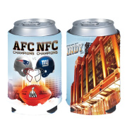 Super Bowl XLVI 46 Duelling Helmets Match Up New York Giants vs New England Patriots 2011 - 2012 Can Kaddy Koozie Cooler