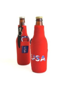 Hat Trick Openers Bottle Cooly Combo with Attached USA Logo, Red Neoprene