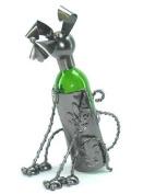 fabulous genunie hand-made sitting dog metal Wine bottle holder / caddy