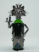 High Quality Genunie Hand Made Caddy Cat Waiter Metal Wine Bottle Holder Free Ship. ZB690-ITE