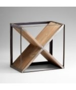 Cyan Design 04859 Cube Raw Iron and Natural Wood Wine Rack