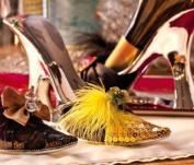 Gold Sequins,High Heel Wine Bottle Holder,Polystone,8.6x6.9cm x 11.4cm