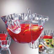 Prodyne Illusions 12 Piece Clear Acrylic Punch Bowl Serving Set