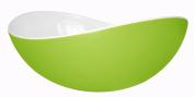 Mebel EN11-M02MV-GRE Large Oblong Salad Bowl in 2-Tone Melamine Inside White Outside Green
