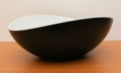 Mebel EN11-M02MV-BLA Large Oblong Salad Bowl in 2-Tone Melamine Inside White Outside Black