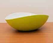 Mebel EN15-M02MV-GRE Medium Size Oblong Salad Bowl in 2-Tone Melamine, Inside White Outside Green