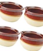 Crestware Set of 4 Onion Soup Crock Bowls - 300ml - Restaraunt Quality - Porcelain -