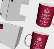 Keep Calm and Carry On Vintage Art (Propaganda, Motivational, Red) Ceramic Boxed Gift Coffee (Tea, Cocoa) 330ml Mug