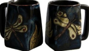One (1) MARA STONEWARE COLLECTION - 350ml Coffee or Tea Cup Collectible Square Bottom Mug - Dragonfly / Insects Design