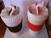 Double-wall Travel Mugs with Non-slip Sleeves, 470ml Set of Two