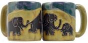 One (1) MARA STONEWARE COLLECTION - 470ml Coffee Cup Collectible Mug - Elephant Design