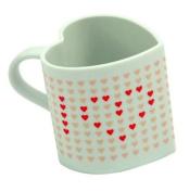 "Heat Changing Heart Shaped Love Mug - Heat Sensitive - When Warm Reveals ""I Heart You"" Message"