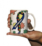Autism Awareness Coffee Mug - Blue Autism Ribbon - 440ml Ceramic Mug