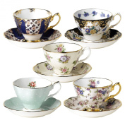 Royal Albert 100 Years of Royal Albert Teacups and Saucers, Set of 5, 1900-1940