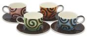 Hues & Brews Eight Piece 410ml Chocolate Ribbon Latte Cup & Saucer Set