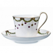 Royal Copenhagen Star Fluted Christmas High Handled Cup & Saucer