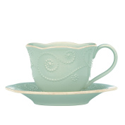 Lenox Dinnerware, French Perle Ice Blue Cup and Saucer Set