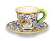 Handmade Raffaellesco Espresso Cup & Saucer From Italy
