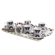 Anime Asian Girl Porcelian Espresso Cup 12 PC Set With Tray