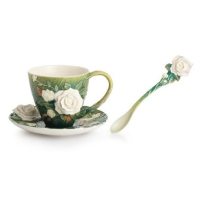Franz Collection Porcelain Van Gogh White Roses Cup/saucer S