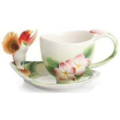 Franz Fine Porcelain Bird of Paradise Shangri-la Cup & Saucer