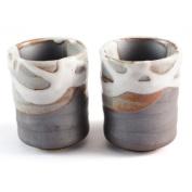 Stoneware Tea/Coffee Cup Pair - White Chunky Drip Effect