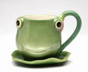 12.1cm Green Smiling Fairy Frog Teacup and Leaf Shaped Saucer Set