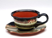 Multi Coloured Porcelain Cup and Saucer Set with Evening Design