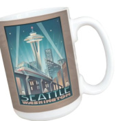 TreeFree Greetings 79424 Seattle Space Needle by Paul A. Lanquist Ceramic Mug with Full-Sized Handle, 440ml, Multicoloured