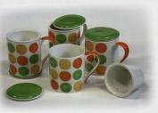 Hues & Brews 350ml Infuser Mug Fresh Squeezed, Set of 4