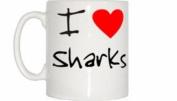 I Love Heart Sharks Mug