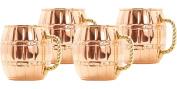16-Ounce Solid Copper Barrel Mule Mug, Set of 4