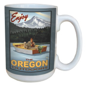 TreeFree Greetings 79407 Fishing Mount Hood Oregon by Paul A. Lanquist Ceramic Mug with Full-Sized Handle, 440ml, Multicoloured