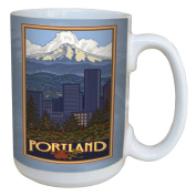 TreeFree Greetings 79417 Portland Skyline by Paul A. Lanquist Ceramic Mug with Full-Sized Handle, 440ml, Multicoloured