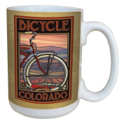TreeFree Greetings 79352 Colorado Bicycle by Paul A. Lanquist Ceramic Mug with Full-Sized Handle, 440ml, Multicoloured