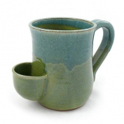 Tea Mug - Hand-Sculpted Stoneware with Tea Bag Holder, 470ml, Made in the USA