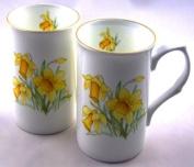 Pair Fine English Bone China Mugs - Daffodil Chintz - Staffordshire, England